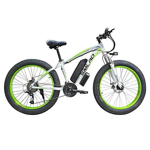 Bicicleta eléctrica 350W Motor 17.5AH Samsung Batería de Litio 26 × 4.0 Pulgadas Neumático Gordo Bicicleta eléctrica Adultos Fat E-Bike Envío gratis-BlancoVerde350W17.5A_China