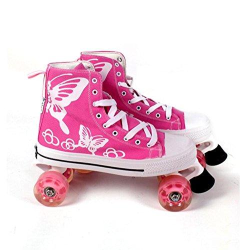 ZZY Einreihig Rollschuhe Zweireihige Canvas Schlittschuhe Roller Schuhe Erwachsene Inline Skates Für Frauen und Männer, Pink, 38-39
