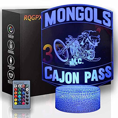 Lámpara de ilusión LED 3D Mongols Cajon Pass Accesorios de juego para escritorio para niños regalos de vacaciones regalo de Navidad, regalo de cumpleaños, ventilador de juego