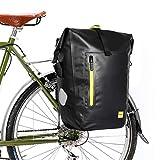 CamGo Rhinowalk 25L Bike Panniers Bag Waterproof Bike Saddle Bag Extensible Bicycle Rear Seat Bag Shoulder Bag with Rain Cover for Riding Cycling (Black&Green)