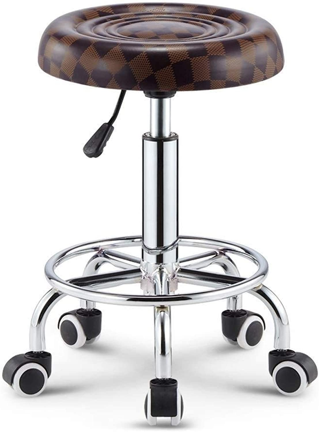 Bar Chair Leather Bar Chair with Pulley for Lifting and redating, Multi-color Optional (43-55cm) (Size   Brown-a)