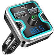 EatekPower Bluetooth 5.0 FM Transmitter for Car, USB C Car Charger with 2 USB Ports, Hands-Free Calling, Radio Adapter and Receiver, Music Player Support TF Card, USB Flash Drive