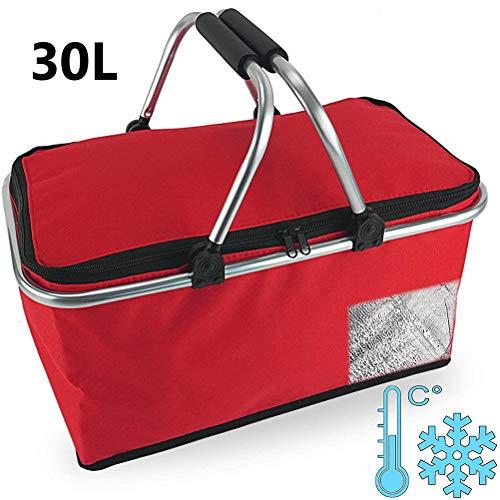RetroFun 30L faltbarer Einkaufskorb Tasche isoliert Picknickkorb Tasche Kühltasche mit Griff für Grill, Camping, Einkaufen, Reisen