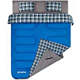 KingCamp Airbed Fitted Double Sleeping Bag with Bed Sheet & 2 Pillows, Queen Size Flannel Sleeping Bag for 2 Adults Keep Warm in -4 ℃/25℉ (Airbed Not Included)