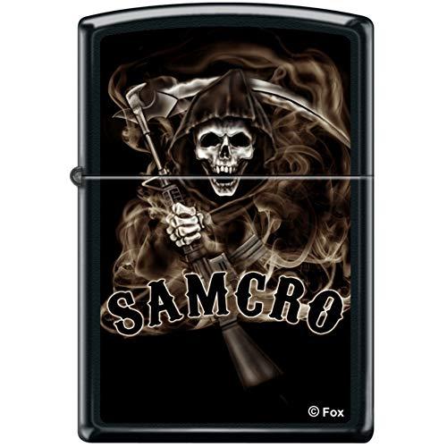 Zippo SOA Sons of Anarchy Samcro Reaper Black Matte Windproof Lighter Rare -  218CI017465
