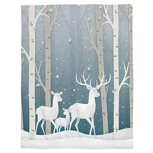 Flannel Throw Blanket Winter Wanderland Reindeer Snow Xmas Tree Lightweight Fleece Bed Blanket Soft Warm Blanket All Season Sofa/Couch/Chair