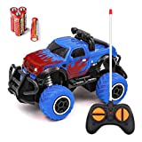Mini RC Car for Kids, Remote Control Mini Model Vehicle for Kids Best Birthday Gifts for 3 4 5 6 7 8 9 10 Boys Cute 4WD SUV 1:43 Buggy Electric Stunt RC Vehicle for Children Gift for Kids Blue