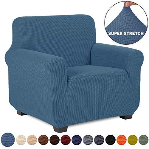 TIANSHU Sesselbezüge,Spandex Sofabezug Stretch Couchbezug Elastischer Antirutsch Stretchhusse Weich Stoff,Jacquard-Stretch-Sofabezug,sesselbezug Schonbezug für Sofa-Sofahalter(Sesselbezüge,Denim Blau)