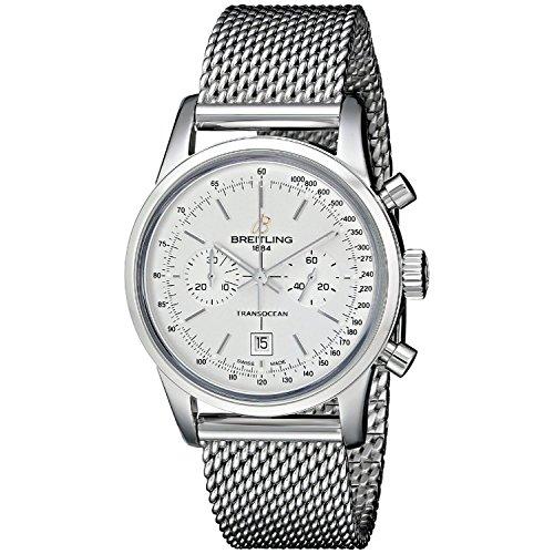 Breitling da uomo 38mm con cinturino e cassa in acciaio bianco automatico cronografo orologio a4131012-g757ss
