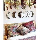 Updayday Décor Naturel scandinave Acrylique Phase de Lune miroirs Design d'intérieur Miroir de Phase de Lune en Bois, pour décoration Murale Chambre Salon
