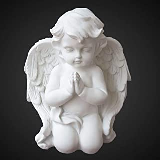 Best OwMell 6.3 Inch Kneeling Praying White Baby Cherubs/Angels Resin Garden Statue Figurine Indoor Outdoor Home Garden Decoration Wings Angel Statue Sculpture Memorial Statue Reviews