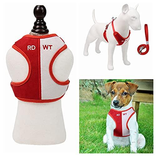 PHENHU Arnés chaleco para perros y gatos transpirable chaleco de dos tonos arnés suave felpa mascota entrenamiento al aire libre arnés con asa ajustable arnés para cachorros(XS,rojo y blanco)