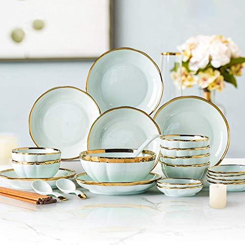 JHSHENGSHI Platos de Cena de cerámica, Cuenco y Cuchara para Cereales y Plato |Juego de vajilla de Porcelana Phnom Penh de Lujo Ligero de 32 Piezas para Regalo