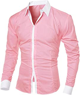 ZHUYOU Mens Color Block Dress Shirts Slim Fit Long Sleeve Tops Autumn Button Down Shirts Work Casual T Shirts Blouse
