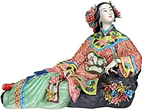 VAWAA Classical Ladies Spring Craft Painted Art Figure Statue Ceramic Antique Chinese Porcelain Figurine Home Decorations
