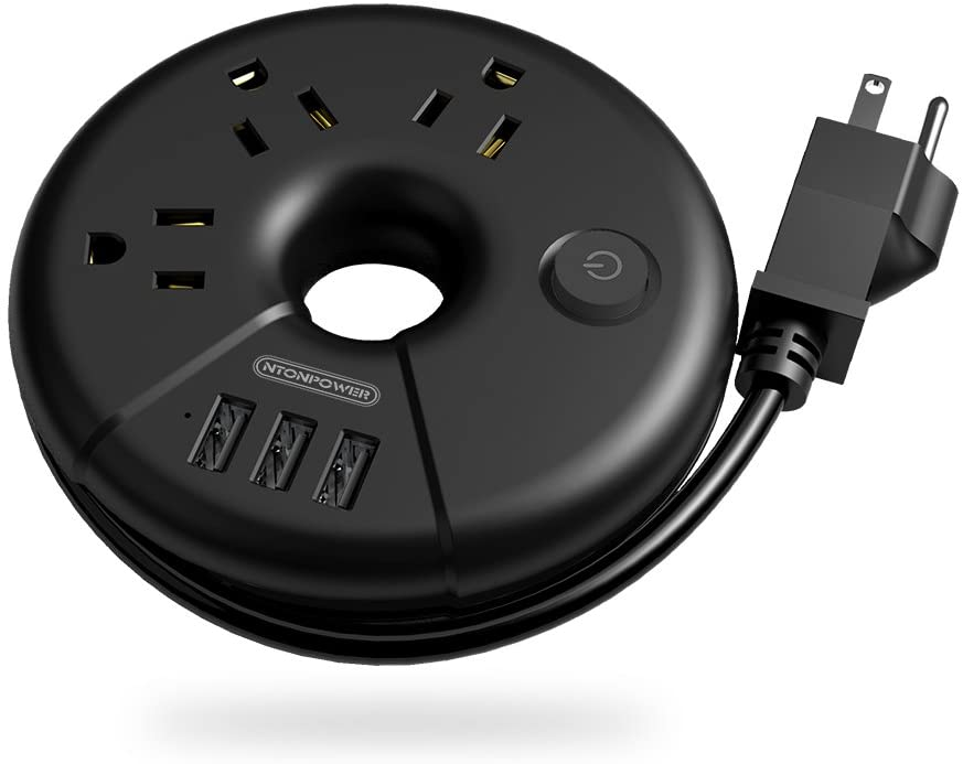 Travel Power Strip, NTONPOWER Portable Charging Station 3 USB Without Surge Protector Short Extension Cord 15 inches Compact for Home, Office, Cruise Ships, Business Trip, Hotels, Black