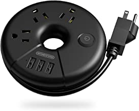 Travel Power Strip, NTONPOWER Portable Charging Station 3 USB Without Surge Protector Short Extension Cord 15 inch Compact for Home, Office, Cruise Ships, Business Trip, Hotels - Black