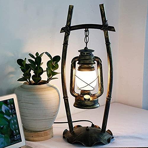 UimimiU Lámpara de lectura de la luz de la mesa retro Lámpara de escritorio de Kerosene Lámpara de la vendimia Linterna de escritorio Lámpara de mesa antigua Antigua Rural para el Café Bar Almacén Lám