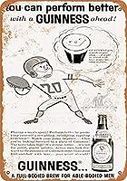 2個 8 x 12 cm メタル サイン - 1960 ギネス スタウトとサッカー メタルプレート レトロ アメリカン ブリキ 看板