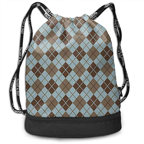DPASIi Mochilas con cordón, diseño de rombos con líneas rectangulares en forma de diamante, geométrica, cierre de cuerda ajustable