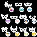 ChezMax Kid Hand Painting Art Crafts DIY Eye Masks Graffiti Blank Painting Mask Set Dress Up Masks for Party Birthday School Supplies 12pcs