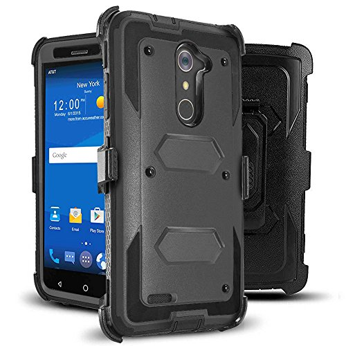 J.west Compatible with ZTE ZMax Pro Case, Belt Clip Kickstand Heavy Duty Full-Body Rugged Protection Impact Armor TPU Hard Case Cover Without Screen Protector for ZTE Zmax Pro Z981/Grand X Max 2 Black