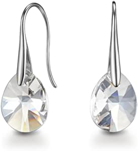 Mestige Pascal Earrings with Swarovski® Crystals (Silver) Gifts Women Girls, Classic Drop Hook Dangle-Earrings