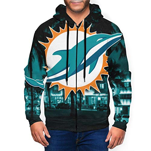 Men's 3D Printed Zip Up Hoodies Miami Casual Dolphins Sweater Jacket with Pockets XL Black