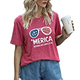 Mayntop T-shirt d'été à manches courtes pour femme Motif drapeau américain vintage 4 juillet, C-rose rouge., 40