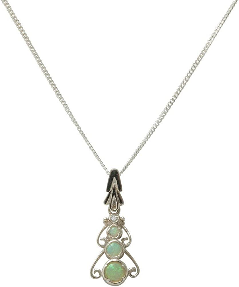 Solid 925 Sterling Silver Natural Colorful Opal /& Cubic Zirconia Womens Pendant /& Chain