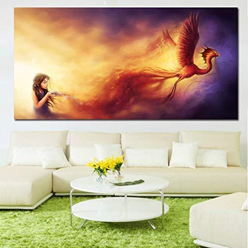 Geiqianjiumai Wandstil Kunst Phoenix Mädchen magischen Hintergrund Wandbild Leinwand Kunstdruck Poster Home Dekoration Malerei Wandmalerei rahmenlose Malerei 50x100cm