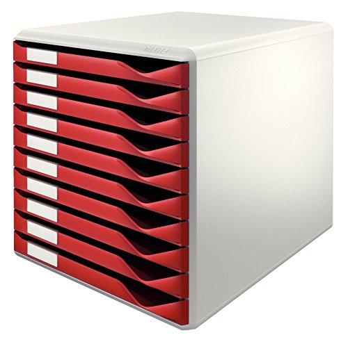 Leitz 52810028 Schubladenset Formular-Set, 10 Schubladen, lichtgrau/bordeaux