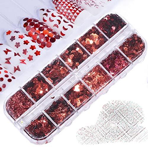 33 estilos de lentejuelas artísticas 12 cuadrículas en caja de oro y plata con purpurina en forma de corazón, conjunto de parches de mariposa, suministros para uñas-027