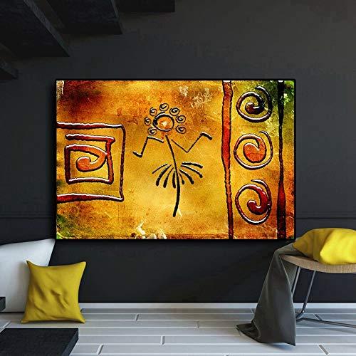 KWzEQ Abstraktes geometrisches Blumentanzgoldölgemäldeplakat auf Leinwand afrikanische Wandkunst für Wohnzimmer,Rahmenlose Malerei,60x90cm