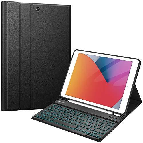 Fintie Funda con teclado para iPad 8.ª Generación (2020) / iPad 7.ª Generación 10.2 ' 2019, cubierta trasera de TPU suave con soporte para lápiz y teclado Bluetooth inalámbrico magnético, retroiluminación de 7 colores, Negro