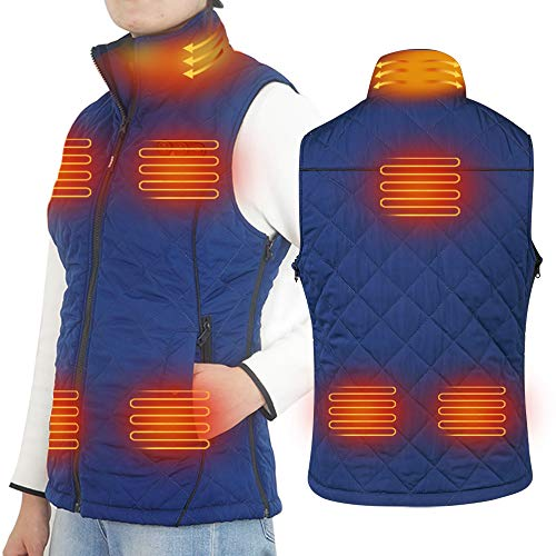 ARRIS Heated Vest for Women, Electric Heating Warm Gilet Slim Fit Size Adjustable for Outdoor Camping Hiking Golf Blue (Include 7.4V Battery)