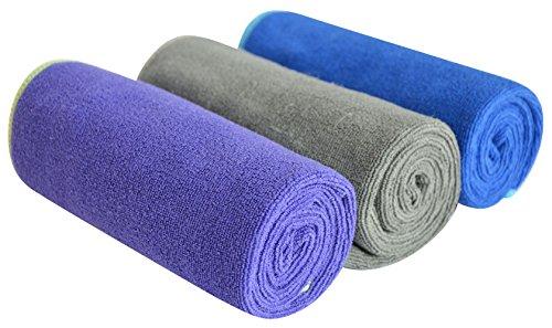 SINLAND Microfaser Handtuch Sporthandtuch Sports Towel Reisehandtuch 3 Stück 1Schiefergrau +1Traube +1Blau Orichil 33cm x 74cm