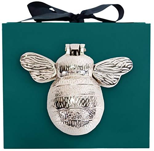 Silver Bee Door Knocker - in Gift Box | Nickel Chrome Plated Brass Bumblebee Door Knocker | Handmade Bee Gifts | Solid Brass Bee Door Knocker | Door Knockers for Front Door |