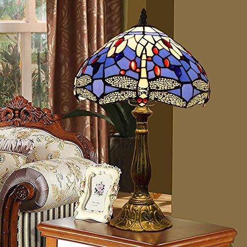 Lámpara de mesa Lámparas de Nightstand Lámpara de bronce del metal lámpara de mesa Europeo Tiffany Estilo Mediterráneo azul Cuerpo Sala Comedor Dormitorio de noche mesa de bar Lámpara de mesa clásico