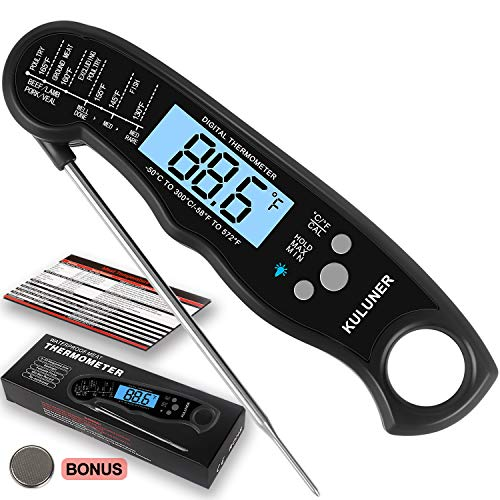 "KULUNER Waterproof Digital Instant Read Meat Thermometer with 4.6"" Folding Probe Backlight & Calibration Function for Cooking Food Candy, BBQ Grill, Liquids,Beef(Black)"
