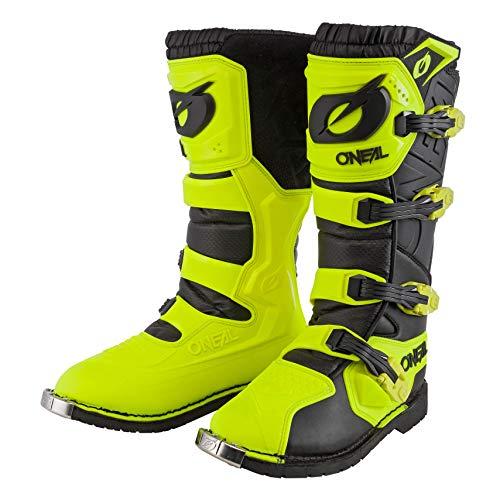 O'NEAL | Botas de Motocross | Motocicleta de Enduro | Plantilla de aire confortable, cuatro hebillas, material sintético de alta calidad | Botas Rider Pro | Adulto | Negro Amarillo Neón | Talla 43