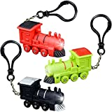 ArtCreativity Light-Up Train Backpack Clips with LEDs and Sounds, Set of 3, Fun Bag Accessories for Kids and Adults, Unique Back to School Supplies, Train Birthday Party Favors for Boys and Girls