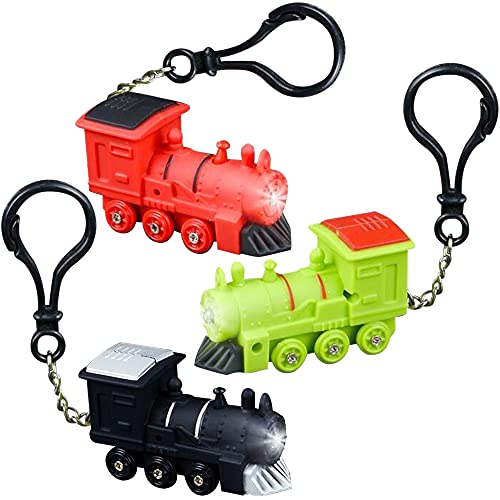 party supplies train toys ArtCreativity Light-Up Train Backpack Clips with LEDs and Sounds, Set of 3, Fun Bag Accessories for Kids and Adults, Unique Back to School Supplies, Train Birthday Party Favors for Boys and Girls