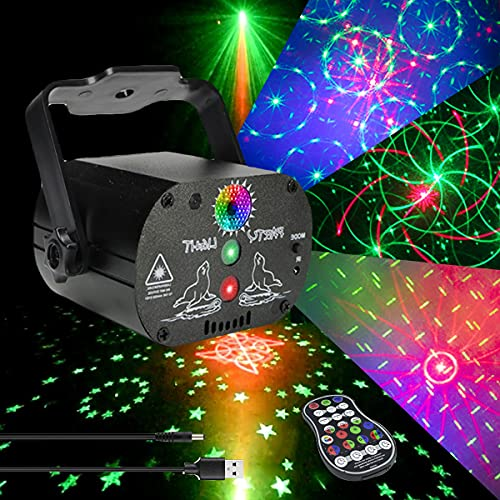 AKEPO Party Light Laser Lights Projector Music Activated Battery Powered Portable Strobe Light RGB LED Indoor DJ Disco Lights with Remote Stage Flash Laser Light for Party/Show/Disco