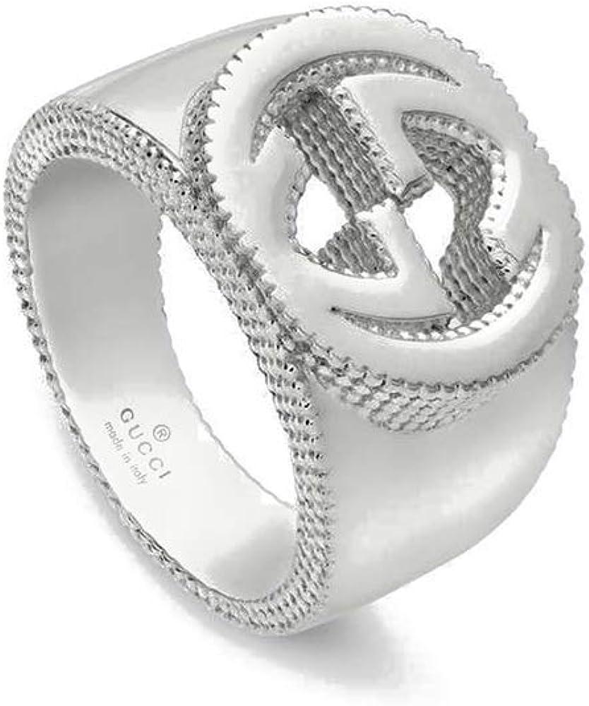 Gucci, anello a fascia per donna in argento, con dettaglio gg FRP-03773