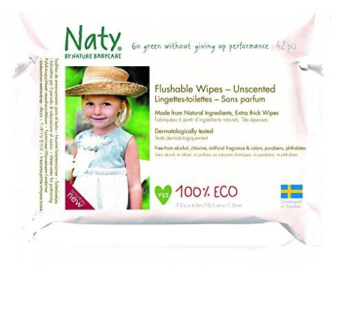 Eco by Naty Babycare Eco - Toallitas limpiables sin perfume, 42 toallitas