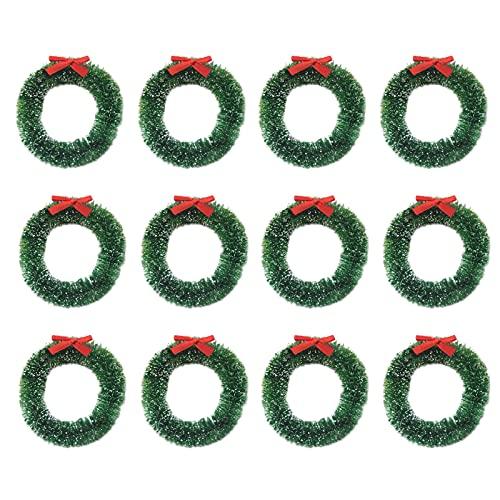 BHSHUXI 12 mini ghirlande artificiali di Natale ornamenti per candela, piccole ghirlande artificiali in miniatura con gelo, per ornamenti natalizi