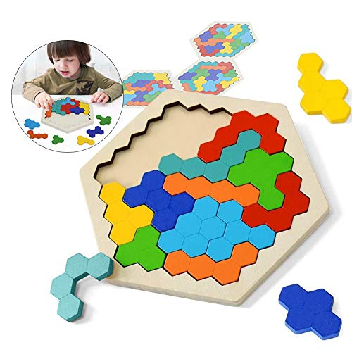 Sunshine smile 1 Stuck Tangram Puzzle,Tangram Holz Kinder,sechseck-Puzzle,Geometrie Spielzeug,Montessori Spielzeug,lernspielzeug,denkaufgabe Spielzeug Holz,pädagogisches Geschenk für Kinder