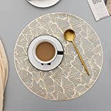 6 Pack Round Placemats for Dinner Table, Heat Resistant Elegant Hollow Placemats Non Slip Table Mats Tea Mug Coaster for Kitchen Table, Restaurant, Cafe (Gold, Ginkgo Biloba)