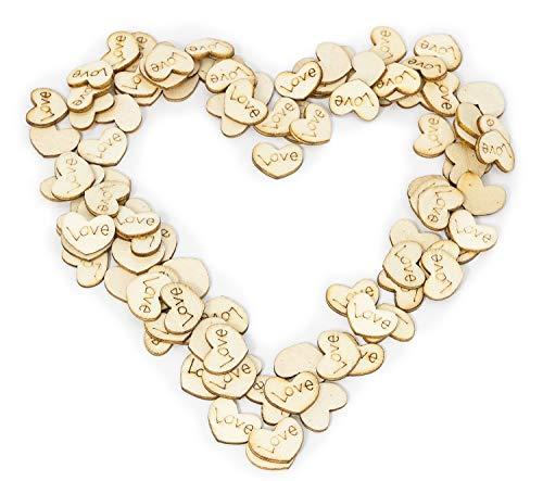 MissBirdler Mini-houten hartjes, 100 stuks, liefde, hart, decoratie, tafeldecoratie, bruiloftsdecoratie, strooidecoratie, confetti, harten, natuurhout, bruiloft, scrapbooking, doe-het-zelf tafeldecoratie